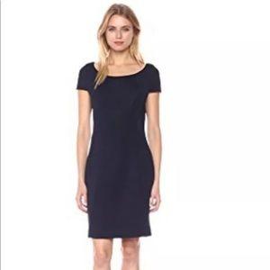 Elie Tahari midnight blue-black curve seam dress